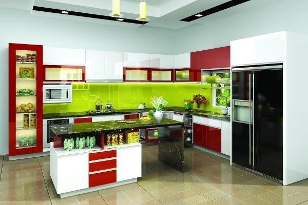 Kính ốp bếp màu xanh lá là màu phù hợp với mệnh Mộc