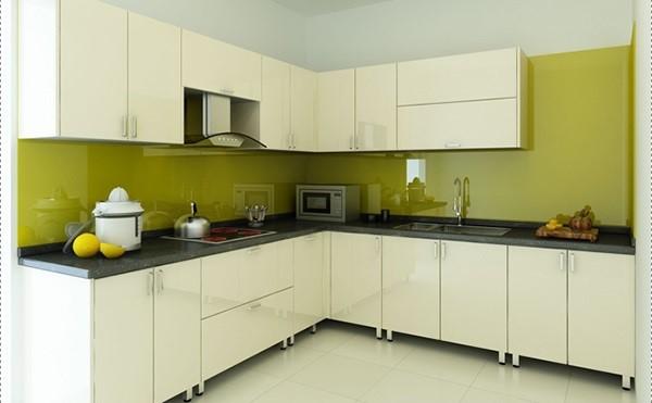 Mẫu kính ốp bếp màu vàng chanh