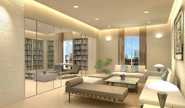 Mẫu cửa kính cường lực trong vách ngăn phòng khách với phòng đọc sách