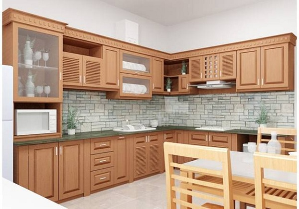 Kính màu ốp bếp giả gạch tạo thu hút cho không gian