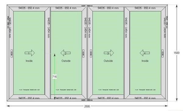 Quy chuẩn kích thước mẫu cửa nhôm Xingfa 4 cánh